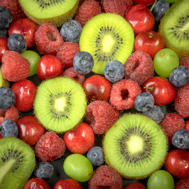 FRUIT MIXED UP by Jim Downey - Food & Drink Fruits & Vegetables ( cherry, blueberry, raspberry, kiwi, grape )