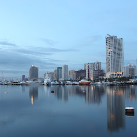 Harbour View  by Oliver Co - Novices Only Landscapes ( canon, building, reflection, boats, reflections, seascape, boat, landscape, canon eos, after, lights, buildings, long exposure, manila, philippines )