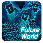 global tech keyboard gps future neon blue APK for Bluestacks