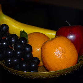 Fruit bowl by Shiva Ranjita - Artistic Objects Still Life ( banana, orange, bowl, grapes, apple, fruits )