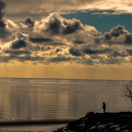 Fishing by Manasvini Munjal - Landscapes Weather ( clouds, lake, fishing )