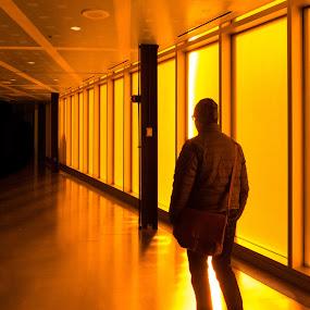 Orange Corridor by Bob Stafford - People Street & Candids ( abstract, orange, walking, hall, window, color, passage, light, coat, man, sun )