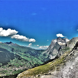 by Phil Bear - Landscapes Mountains & Hills ( grindelwald, mountains, alps, waterfall, switzerland )