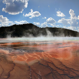 The Grand Prismatic Spring #1 by Kevin Whitaker - Landscapes Mountains & Hills ( sky, cold temperature, beauty in nature cloud, day )