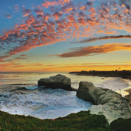 Panorama of Natural Bridges State Park by Kathy Dee - Landscapes Sunsets & Sunrises ( sky, natural bridges, coast, ocean, rocks, nature, sunset, beach, california, clouds, coastal )