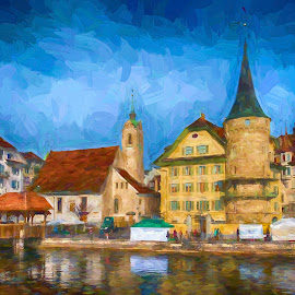 Swiss Town by Pravine Chester - Digital Art Places ( swiss town, digital art, places, digital painting, manipulation )