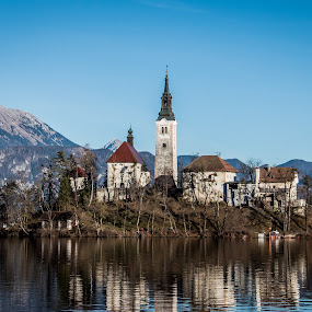 Center by Mario Horvat - Buildings & Architecture Places of Worship ( reflection, church, blue, bled, lake,  )