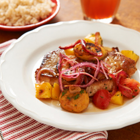 Pork with Plantains, Tomatoes & Mango
