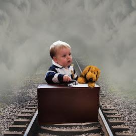 Antisipation by Len  Janes - Digital Art People ( child, teddy bear, railway, people, digital, antispation, teddy, colours )