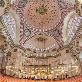 Süleymaniye Mosque Interior by Christodoulopoulos Michail - Buildings & Architecture Places of Worship ( ottoman imperial mosque, geography, κωνσταντινούπολη, 2015, constantinople, süleymaniye mosque, year, turkey, istanbul, city )