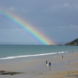 Rainbow over the Cross of Saint Martin by Ciprian Apetrei - Landscapes Beaches ( rainbow, beach, cross, brittany, landscape )