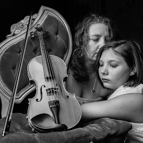 undying love  by April Sadler - People Portraits of Women ( #mother #daughter #violin #tired #beauty #girl #mom #antique )