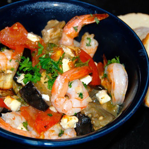 Roasted Tomatoes and Eggplant with Shrimp and Feta