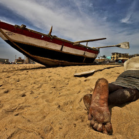 FATIGUED FISHERMAN by NEELANJAN BASU - People Street & Candids ( sea beach, sea, beach, travel, fisherman, people, man )