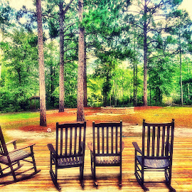 Rocking chairs  by Michael Gonzalez - Instagram & Mobile iPhone ( pine tree, sunny, summer, trees, landscape, sun, north carolina, rocking chair )
