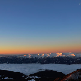 view from mountain by Renata Peterman - Landscapes Mountains & Hills ( sunrise, moon, view, mountains, clouds, morning )