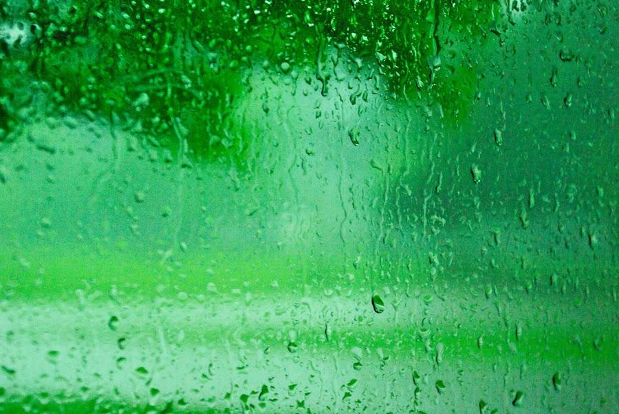 by Kirk Barnes - Abstract Water Drops & Splashes ( drop, rain, green )