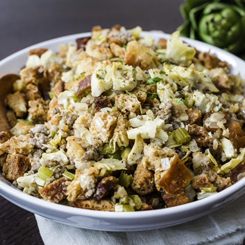 Artichoke Sourdough Stuffing with Sausage