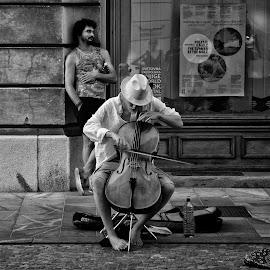 Street musician by Rado Krasnik - People Musicians & Entertainers ( street, summer, musician, entertainer, violoncello )