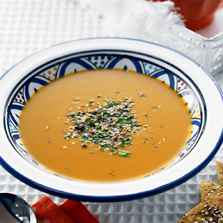 Moroccan Spiced Pumpkin Soup with Dukkah Crisps
