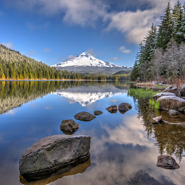 Mt Hood and Trillium Lake Landscape by Chris Bartell - Landscapes Mountains & Hills ( mountain, trillium lake, lanscape, forest, mt hood, relax, tranquil, relaxing, tranquility )