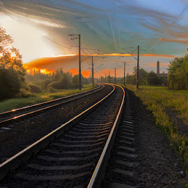 by Vladimir Elfimov - Transportation Railway Tracks