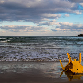 lonely Chair by Maya Bar - Landscapes Beaches ( chair, beach, skyline, clouds, sea )