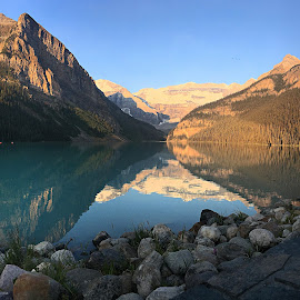 Lake Louise at sunrise by Margie Troyer - Landscapes Waterscapes