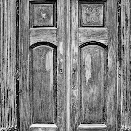 The door to... by Anoop Namboothiri - Black & White Buildings & Architecture ( wooden, black and white, anoop namboothiri, door, antique )