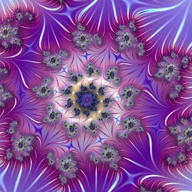 Touch of romance by Cassy 67 - Illustration Abstract & Patterns ( purple, swirl, wallpaper, digital art, spiral, fractal, digital, fractals, purple flower )