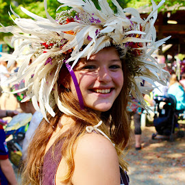 Featherly Lady. by Peter DiMarco - People Street & Candids ( girl, candid, feathers, young, people,  )