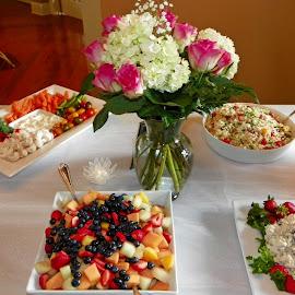 Buffet Table by Sandy Stevens Krassinger - Food & Drink Plated Food ( chicken salad, fruit salad, food, veggie tray, rice salad, bouquiet )