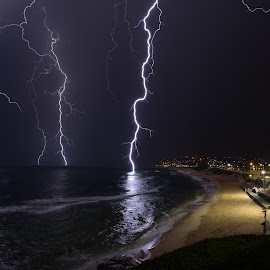 No Swimming by Shane Williams - Landscapes Weather ( lightning, australia, newcastle, nsw, storm, shane williams )