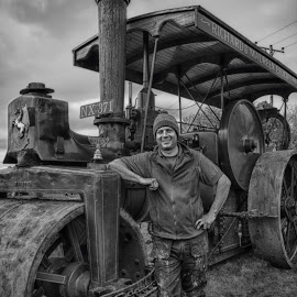 Old Glory by Lorraine Robins - Transportation Other ( potrait, black and white, engine, transportation, steam,  )