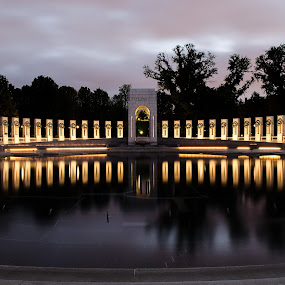 WWII Memorial.. in rememberance by Dan Girard - Buildings & Architecture Statues & Monuments ( water, reflection, honor, worldwar ii memorial, washington dc, monument, sunrise )