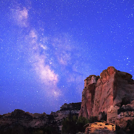 Sawasey Cabin by Trevor Hales - Landscapes Starscapes ( cabin, utah, stars, emery county, san rafael swell, milky way )