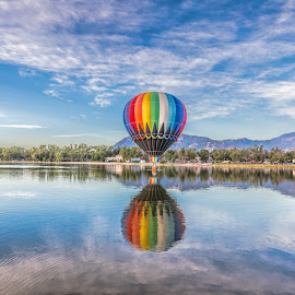 Ballon over water by Thomas Dilworth - Transportation Other ( hot air balloon, colorado springs, colorado, lake, landscape,  )