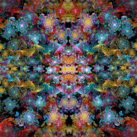 by Peggi Wolfe - Illustration Abstract & Patterns ( abstract, wolfepaw, x-symmetry, bright, color, fun, fractal, digital )