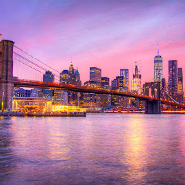 Brooklyn Bridge Sunset by Avery Benson - City,  Street & Park  Skylines ( new, york, nyc, bridge, city, brooklyn )