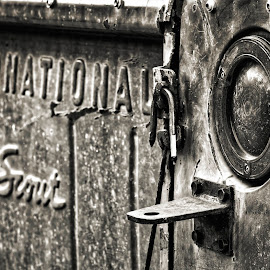 International Scout by Rachaelle Larsen - Transportation Automobiles ( tail lights, scout, international scout, antique car, black and white scout )