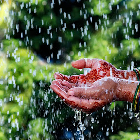 Feel the rain by ডাঃ মুহাম্মদ হাসান - People Body Parts ( hand, feel, women, rain, dhaka )