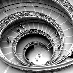Vatican's stairs by Florence Guichard - Buildings & Architecture Other Interior ( stairs, helice, black and white, vatican, people, italy, villes, rencontres, continents, découvertes curiosités, personnes, marchés,  )