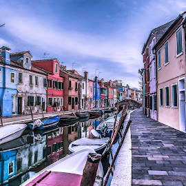 Reflections in Burano by Arif Sarıyıldız - City,  Street & Park  Vistas ( street, venice, burano, reflections, italy, city, island )