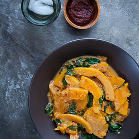 Butternut Squash and Chard in Spicy Harissa Coconut Sauce