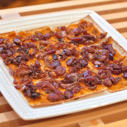 Kabocha Flatbread with Rosemary Roasted Grapes and Shallots