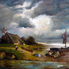 The Fiherman Hous... by Morris Kleyman - Painting All Painting ( weather..., oil paintings, colors, places, landscapes )
