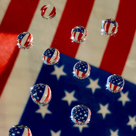 American flag water droplets  by Susan Campbell - Abstract Water Drops & Splashes