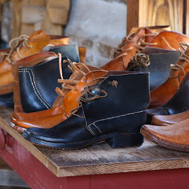 Old Style Leather Shoes by George Logofatu - Artistic Objects Clothing & Accessories ( old house, shoes, man made, old shoes, leather shoes, home made )