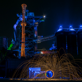 Landschaftspark by Laurent Jacquemyns - Abstract Light Painting ( light painting, landschaftspark, park, night, germany, duisburg, painting )