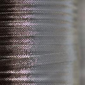 Ribbons by Janet Herman - Abstract Macro ( abstract, roll, macro, silver, ribbon, rows )